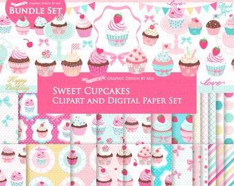 Sweet Cupcakes, Cupcake Party, Cupcake Digital, Cupcake Stand, Cupcake Birthday, Cupcake Clip Art + Digital Paper Set