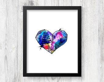 Rainbow Heart Watercolor #3, 8x10, Digital Print, Heart Print, Nursery Print