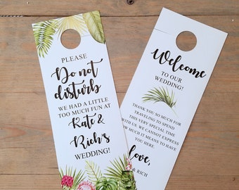 Tropical Wedding Do not disturb door hanger, wedding itinerary, wedding welcome, hotel door hangers, wedding sign, room hanger, RC18002