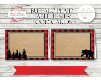 Buffalo Plaid Table Tents - Buffalo Plaid Food Cards - Buffalo Plaid Party Favors - Buffalo Plaid Party Supplies - INSTANT DOWNLOAD