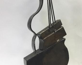 Strings 2,Music Sculpture,musical instrument,art deco,abstract,cello,bass,unique,gift,musicians,blacksmith,handmade,metal art