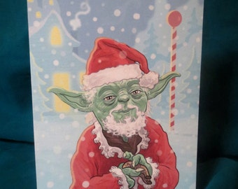 Star Wars YODA Claus CHRISTMAS CARD!