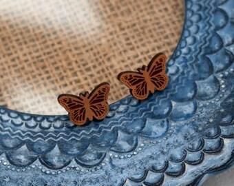 Butterfly Earrings, Wooden Butterfly Stud Earrings