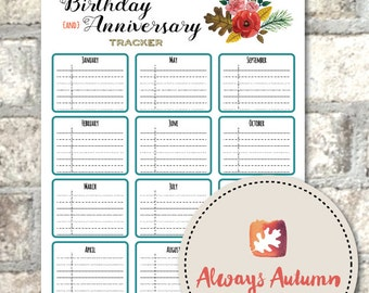 Printable Birthday and Anniversary Tracker - Four Seasons Collection