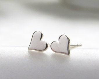 Teeny Tiny Heart Studs • Small Earring Studs • Petite Hearts • Solid Heart Posts • Simple Minimal Earrings • Sterling Silver Heart Studs