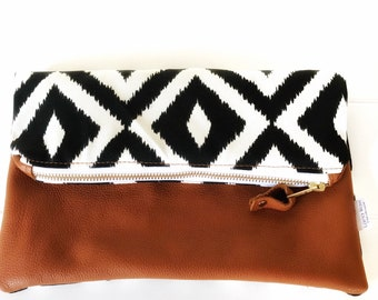 Black and White Ikat and Leather Clutch
