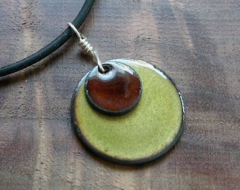 Custom order Red and Olive double copper enamel with Olive and a heart stamped as a memento