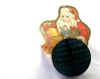 Vintage Die Cut Christmas Ornament, Die Cut Santa with Honeycomb Ball