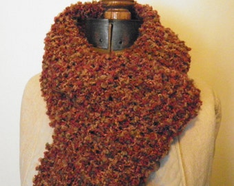 Knit Scarf, Hand Knit in Rust & Olive Green, warm autumn fall cozy soft (268)