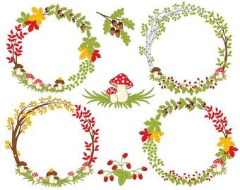 Forest Wreath Clipart - Digital Vector Forest, Berries, Autumn, Woodland Wreath Clip Art