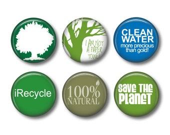 Recycle pinback button badges or fridge magnets , fridge magnet set