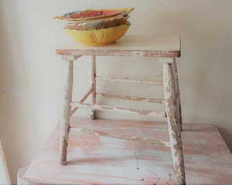 VIntage Stool with Chippy White Paint