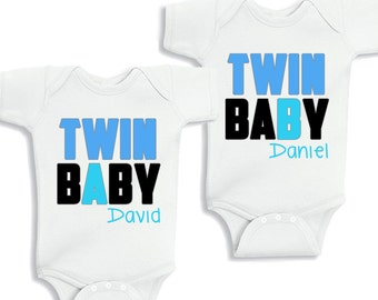 Twin Baby A and Twin Baby B Baby Boys Set of 2 kids Shirt or Baby Bodysuit