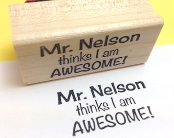 Teacher Name AWESOME Custom Rubber Stamp, Personalized Name Stamp, Teacher Gift