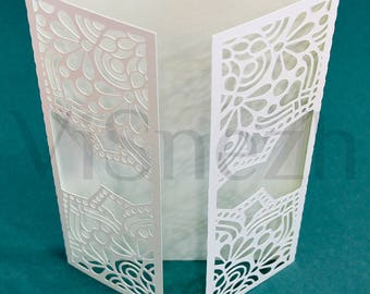 Laser cut Invitation Template. Wedding invitation template, Gift, Letter, etc. EPS SVG DXF cutting files, Silhouette Cameo, Cricut