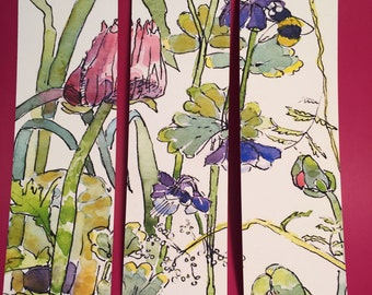 Menagerie of Flowers Bookmark, by Michelle Kogan, Books, Book Accessories, Gardens, Flowers, Watercolors, Pen, Birthday, Art & Collectibles