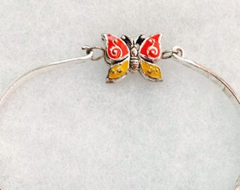 Vintage! Unusual 2 sided silver tone butterfly hinged bracelet silver side or colorful.