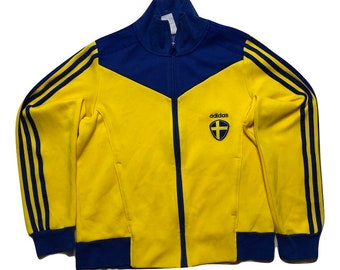 Sweden Europe Adidas yellow Jacket Vintage 90s - women Sz XS-S