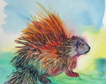 Porcupine watercolor, ORIGINAL porcupine art, libertarian porcupine art. Kids room art, OOAK Woodland nursery decor, 11x11 in., not a print!