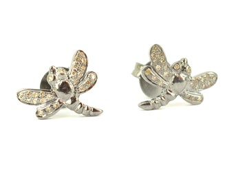 925,sterling silver Draganfly Design Stud Earrings Pave Diamond Jewelry