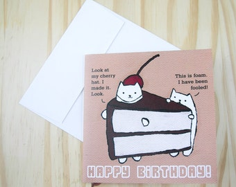 "CARD: ""Cake Cats"" featuring a cat in a cake slice suit with a handmade cherry hat and his gullible buddy"