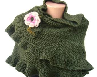 Olive Green Scarf, Ruffle Shawl, Wool Warm, Wool Ruffle Shawl, Woman Accessory, For Her, Winter Shawl, Express Cargo