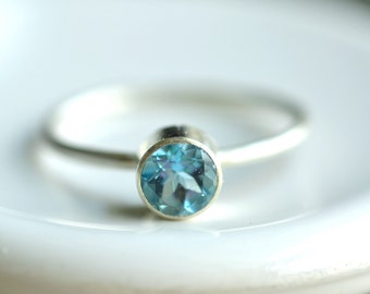 london blue topaz ring - textured delicate band - custom sized - sterling silver