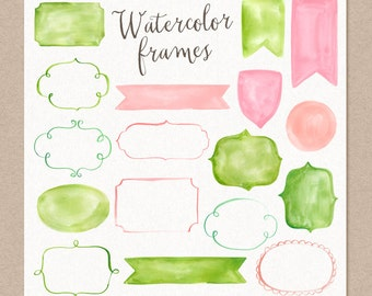 50% SALE Watercolor Cliparts Frames and Ribbons Pink Green Digital cliparts for branding and scrapbooking