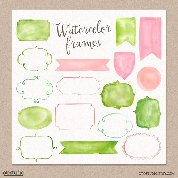 50% SALE Watercolor Cliparts Frames and Ribbons Pink Green
