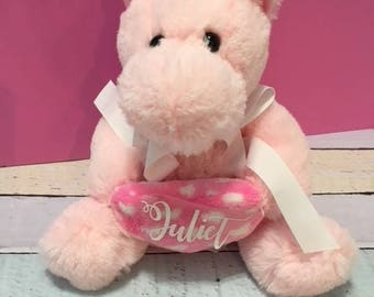 Personalized unicorn plush toy,  baby plush toys, baby shower gift, Unicorn gifts, plush unicorns.