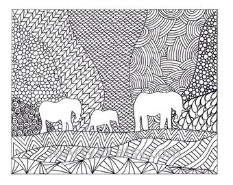 Elephants Coloring Page, Inspired by the art of Zentangle, Printable Zendoodle Page 70