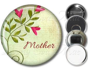 Floral Heart Mother Pocket Mirror, Refrigerator Magnet, Bottle Opener Mom Keychain, Pin Back Button, Makeup Mirror, Pink & Green Mother Gift
