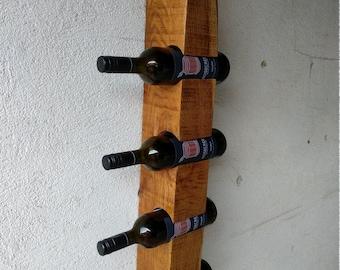 Wall wine rack for four bottles (oak from the oak house)