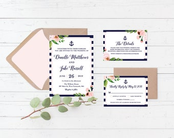 Nautical Floral Printable Wedding Invitation Suite, Anchor, Navy and Pink Custom Printable Wedding Invite Set