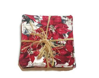 Poinsettia Fabric Coasters, Set of 4, Red and Silver Coasters