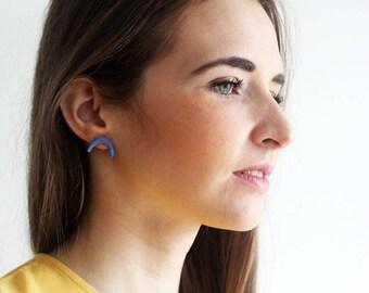 Cobalt blue porcelain stud earrings, curve porcelain earrings, geometric blue earrings, minimalistic cobalt studs
