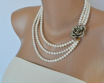 Handmade Weddings Freshwater Pearl Necklace   Bridsmaids Gifts