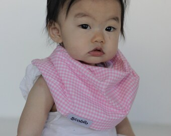 "Modern Bib (Pink Gingham) All in One Scarf & Bib ""Scabib for babies or toddlers"