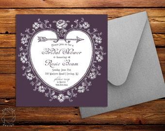 Vintage Heart Bridal Shower Square Invitation Card and Envelope - Custom Design | Plum Teal Grey Pink White