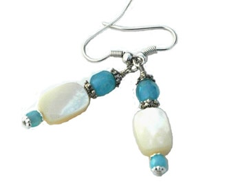 Mother of Pearl Beaded Earrings, Aqua Blue and Pearl Earrings for Special Occassions