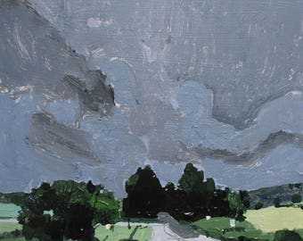 Home Sky, Original Summer Landscape Painting on Panel, Ready to Hang, Stooshinoff