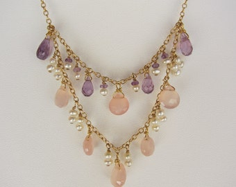 Pink Chalcedony, Purple Amethyst, Pearl Handmade Necklace with 14K Gold Chain