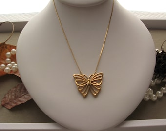 CITATION BUTTERFLY NECKLACE: Gold Butterfly Pendant Necklace by Citation