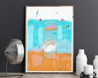 Orange and Blue Painting - Blue Abstract Art - Modern Painting - Original Modern Art - Modern Office Decor - Abstract Painting-Blue painting