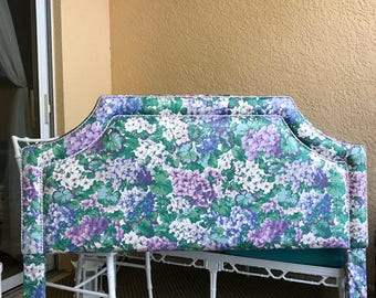 Full Upholstered Purple Blue and Green Headboard with