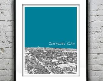 Traverse City Michigan Skyline Art Print Poster MI