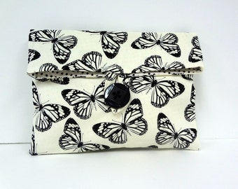 READY TO SHIP Butterfly Makeup Bag Black and White Wedding Clutch