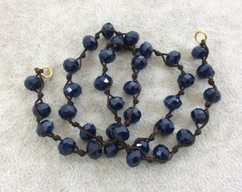 """18"""" Dark Brown Thread Necklace Section with 8mm Faceted Glossy Finish Rondelle Shaped Opaque Dark Denim Chinese Crystal Beads - (18CC-64)"""