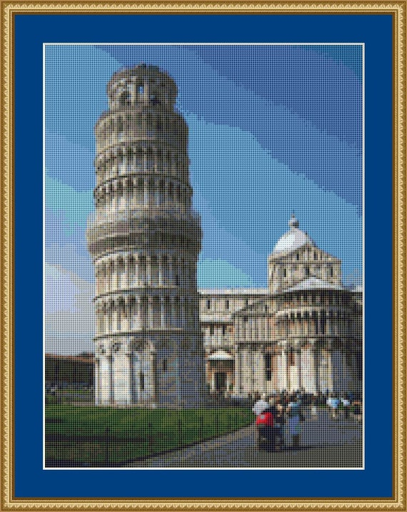 Leaning Tower Of Pisa Cross Stitch Pattern /Digital PDF Files /Instant downloadable