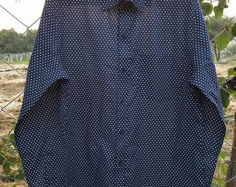 SALE- Long Sleeves fitted Shirt made of Pure Cotton BLUE WHITE combo handmade  Print